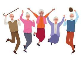Internationaler Tag für ältere Menschen mit springenden alten Menschen vektor
