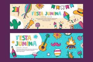 festa junina banner vorlage vektor