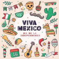 große Sammlung handgezeichnete viva mexico vektor