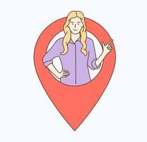 Geolocation GPS-Navigation Online-Karte GPS-Pin korrekter Weg Standort Adresskonzept Frau Mädchen zeigt den Standort der Völker im aktuellen Moment auf der Karte vektor