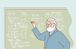 Wissenstraining und Bildung und Wissenschaftskonzeptprofessor, der das Thema der Seminarvorlesung mit Zeichnungsdiagramm auf der Klassentafel erklärt vektor