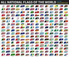 alle offiziellen Nationalflaggen der Welt Haftnotiz Design Vektor