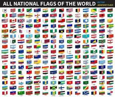 alle offiziellen Nationalflaggen des Weltkleberdesignvektors vektor