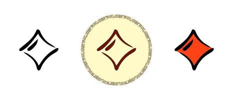 Umriss und Farben und Retro-Symbole des Karo-Asses vektor