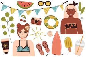 Eine Reihe von Sommer-Dingen für die Strandreise zu einem sonnigen Land glückliches Mädchen im Bikini ruht am Meer eine Frau in einem Badeanzug sonnt sich und entspannt sich in der Nähe des Wassers vektor