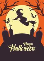 Happy Halloween-Karte mit Hexe, die im Besen über Friedhof fliegt vektor