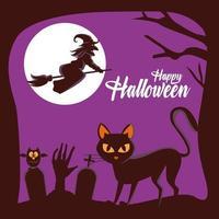 Happy Halloween-Karte mit Hexe fliegt in Besen und Katze auf dem Friedhof and vektor