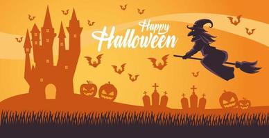 glückliche halloween-karte mit hexe, die in besen und friedhof fliegt vektor