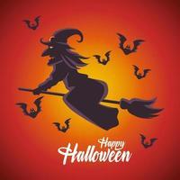 Happy Halloween-Karte mit Hexe, die in Besen und Fledermäusen fliegt vektor