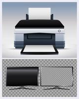 Druckerhardwaremaschine und Monitorcomputergeräte computer vektor
