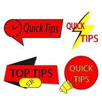Symbole für schnelle Tipps vektor