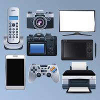 Gruppe von elektronischen Geräten stellen Icons ein vektor