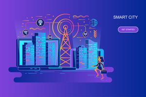 Modern gradient platt linje koncept webb banner av smart stad med dekorerade små människor karaktär. Målsida mall.