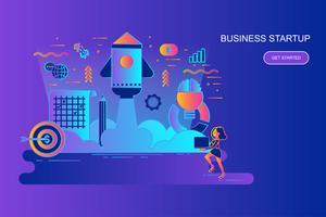 Modern gradient platt linje koncept webb banner av företagsstart med dekorerade små människor karaktär. Målsida mall.