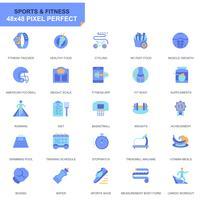 Enkla Set Sport och Fitness platt ikoner för webbplats och mobilappar