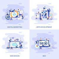 Moderne flache Konzeptnetzfahne von Seo, von Webdesign, von Apps Entwicklung und von digitalem Marketing mit verziertem kleinem Leutecharakter.