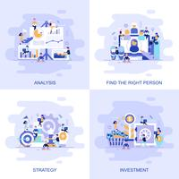 Moderne flache Konzeptnetzfahne der Investition, Strategie, Analyse und finden die rechte Person mit verziertem Zeichen der kleinen Leute. vektor