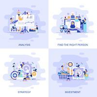 Modernt platt begreppswebbanner av investering, strategi, analys och hitta rätt person med dekorerade småpersoners karaktär.