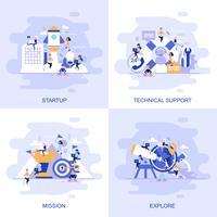Modernt platt begreppswebbanner med teknisk support, uppdrag, utforska och starta med inredda småpersoners karaktär. vektor