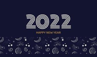 Postkarte oder horizontales Banner Frohes neues Jahr 2022 in dunkelblauer Farbe mit Weltraumhintergrundvektor vektor