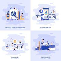 Modernt platt begreppswebbanner av sociala medier, vårt team, portfölj och projektutveckling med inredda småpersoners karaktär.