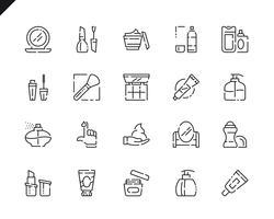 Enkel uppsättning kosmetiklinjeikoner för webbplats- och mobilapps. vektor