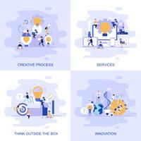 Modern platt koncept webbbanner av tjänster, tänka utanför rutan, innovation och kreativ process med dekorerade småpersoners karaktär. vektor