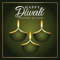 glückliche diwali einladung grußkarte mit diwali diya vektor