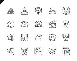 Enkel uppsättning penn- och djurlinjeikoner för webb- och mobilapps.