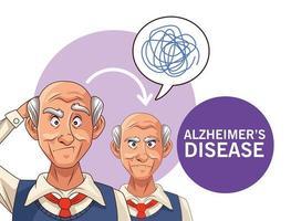 Alte Männer Patienten mit Alzheimer-Krankheit mit Sprechblasen und Kritzeleien vektor