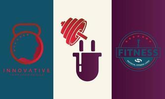 Fitness-Strom und mehr Fitness-Symbol-Logo-Design vektor