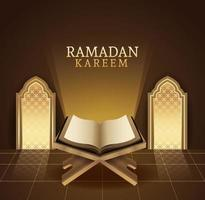 Ramadan Kareem Feier mit Koranbuch vektor