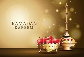 Ramadan Kareem Feier mit goldenem Kelch und Äpfeln vektor