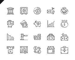 Enkla inställningar för finanslinjeikoner för webbplats- och mobilapps. vektor