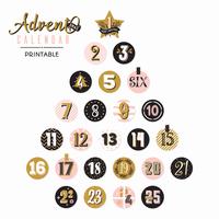 Printable Adventskalender Weihnachtsbaum vektor