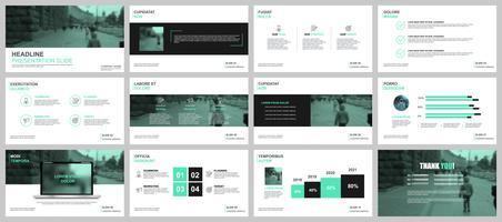 Grüne und schwarze Business-Präsentation Folien Vorlagen von Infografik-Elementen.