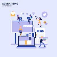 Reklam och marknadsföring plandesign begrepp blå stil med dekorerade små människor karaktär. vektor