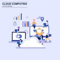 Cloud computing platt design koncept blå stil med dekorerade små människor karaktär.