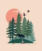 schöne Landschaft mit Vögeln und Wolfsszene vektor