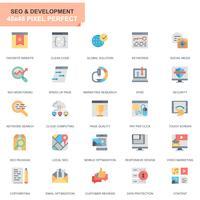 Einfache Set Seo- und Netz-Optimierungs-flache Ikonen für Website und bewegliche Apps