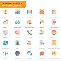 Enkla uppsättning affärs- och finansieringsplattonsikoner för webbplats- och mobilapps vektor