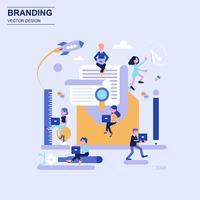 Blaue Art des Branding-flachen Designkonzeptes mit verziertem kleinem Leutecharakter.
