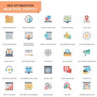 Einfache Set Seo und Entwicklung flache Icons für Website und Mobile Apps vektor