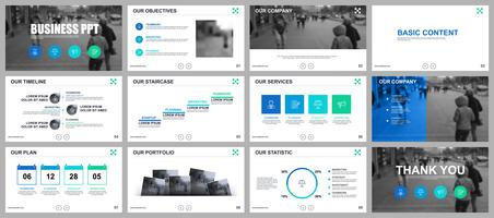Business-Präsentation PowerPoint schiebt Vorlagen aus Infografik-Elementen. vektor