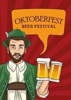 oktoberfestfeierkarte mit deutschem mann, der bier trinkt vektor