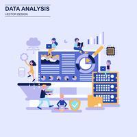 Blaue Art des flachen Designs der großen Datenanalyse mit verziertem kleinem Leutecharakter.