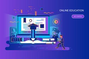 Konzept-Netzfahne der modernen Steigung der flachen Linie der on-line-Bildung mit verziertem Zeichen der kleinen Leute. Zielseitenvorlage