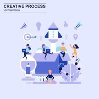 Kreativ process platt designkoncept blå stil med dekorerade småpersoners karaktär.