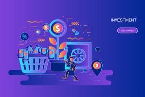 Modern gradient platt linje koncept webb banner av investering och tillväxt ekonomi med dekorerade små människor karaktär. Målsida mall.