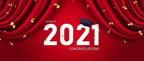 Grattis kandidater klass 2021 banner vektor och design för affisch
